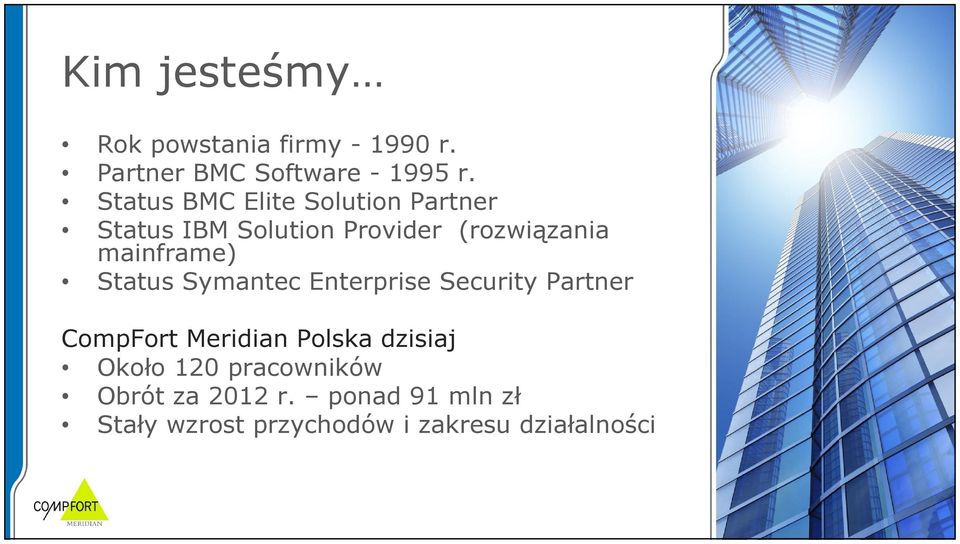 mainframe) Status Symantec Enterprise Security Partner CompFort Meridian Polska
