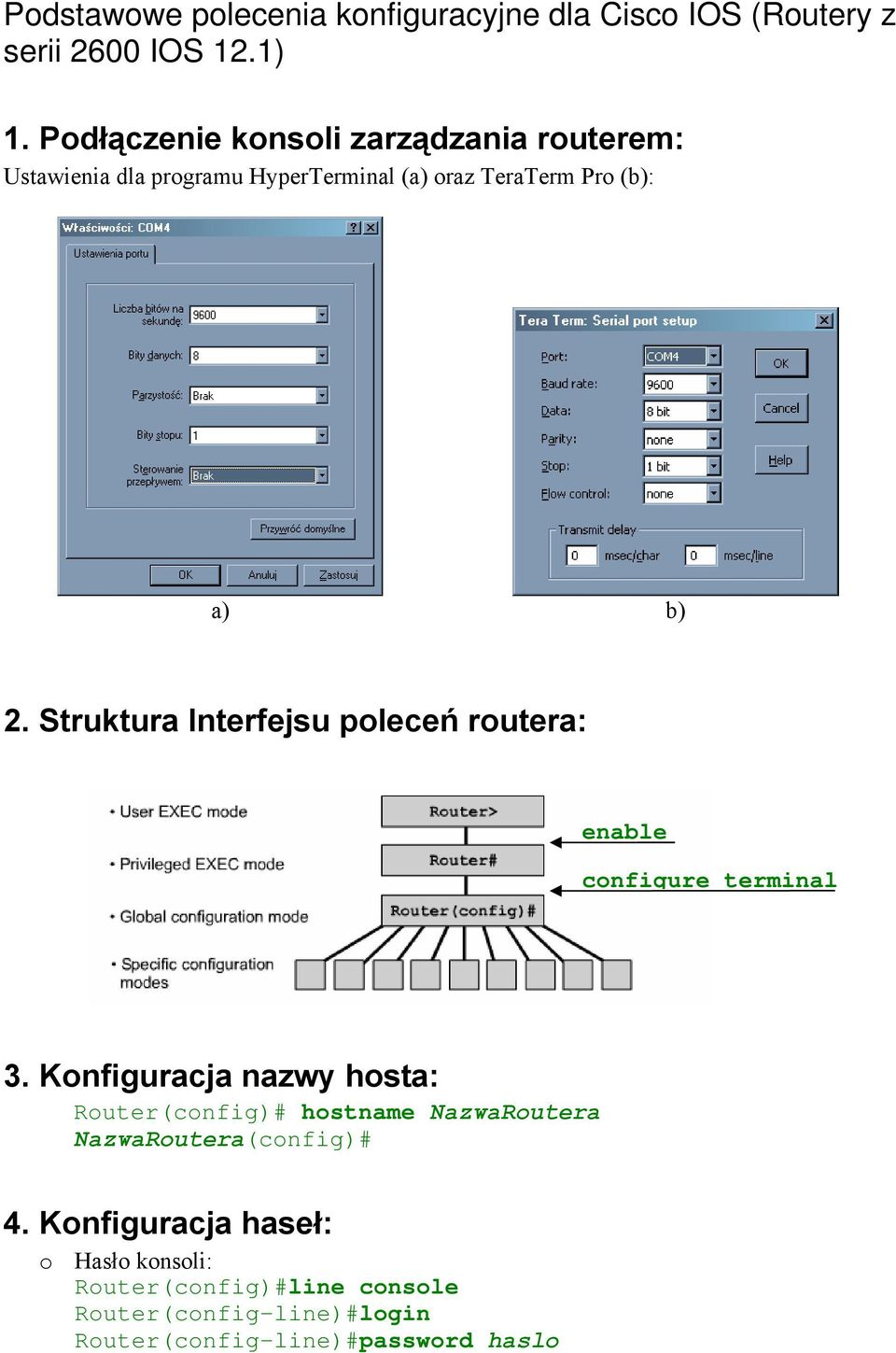 Struktura Interfejsu poleceń routera: enable configure terminal 3.