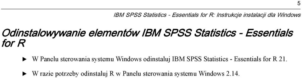 sterowania systemu Windows odinstaluj IBM SPSS Statistics - ssentials for
