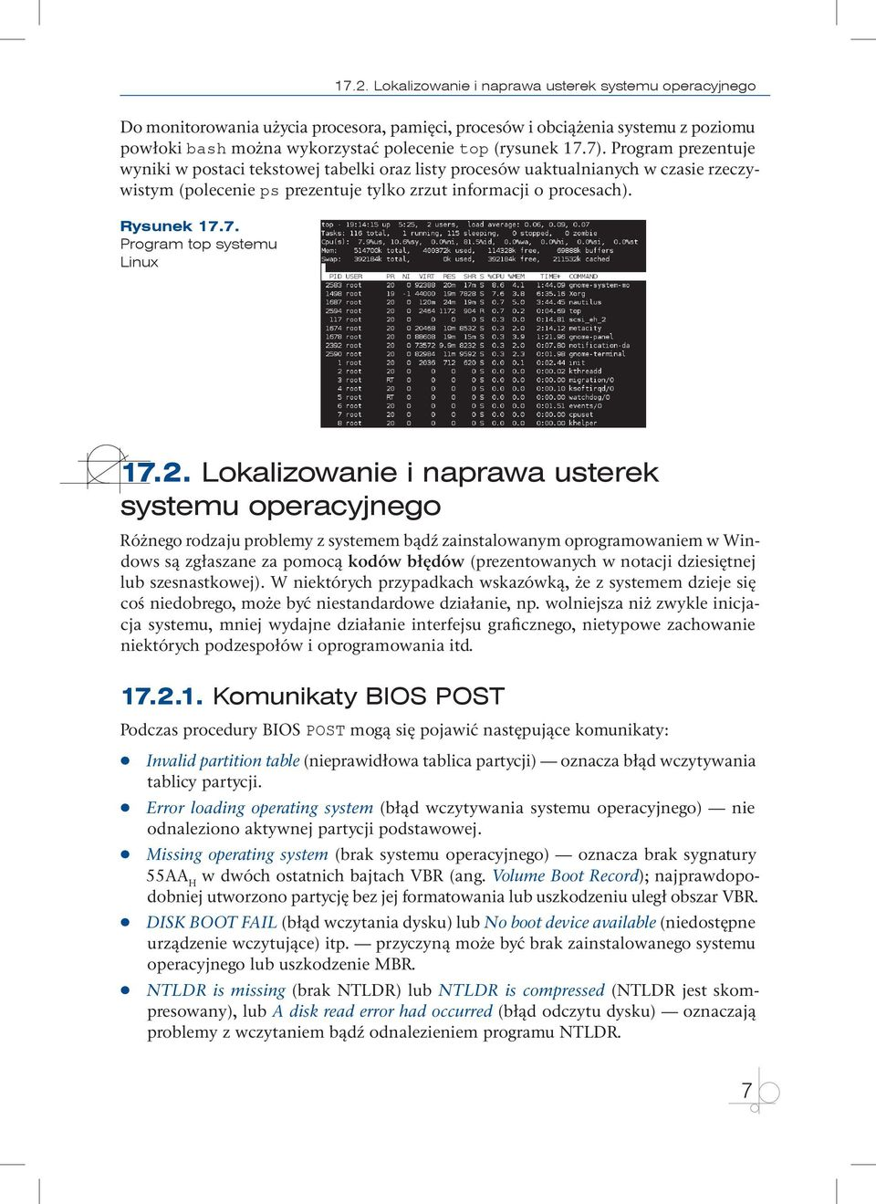 7. Program top systemu Linux 17.2.