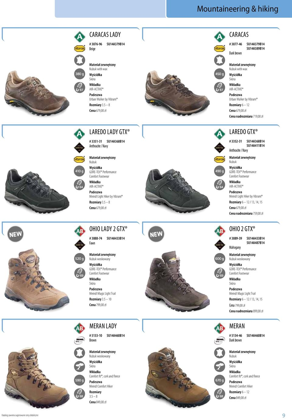 Light Hiker by Vibram / 13, 14, 15 Cena 679,00 zł Cena nadrozmiaru 759,00 zł Ohio Lady 2 GTX # 3888-74 SU14A433B14 Fawn woskowany Meindl Magic Light Trail 3.