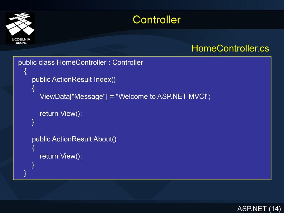 "ViewData[""Message""] = ""Welcome to ASP.NET MVC!"