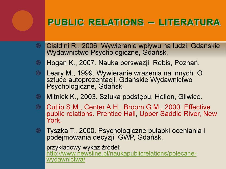 Sztuka podstępu. Helion, Gliwice. Cutlip S.M., Center A.H., Broom G.M., 2000. Effective public relations. Prentice Hall, Upper Saddle River, New York.