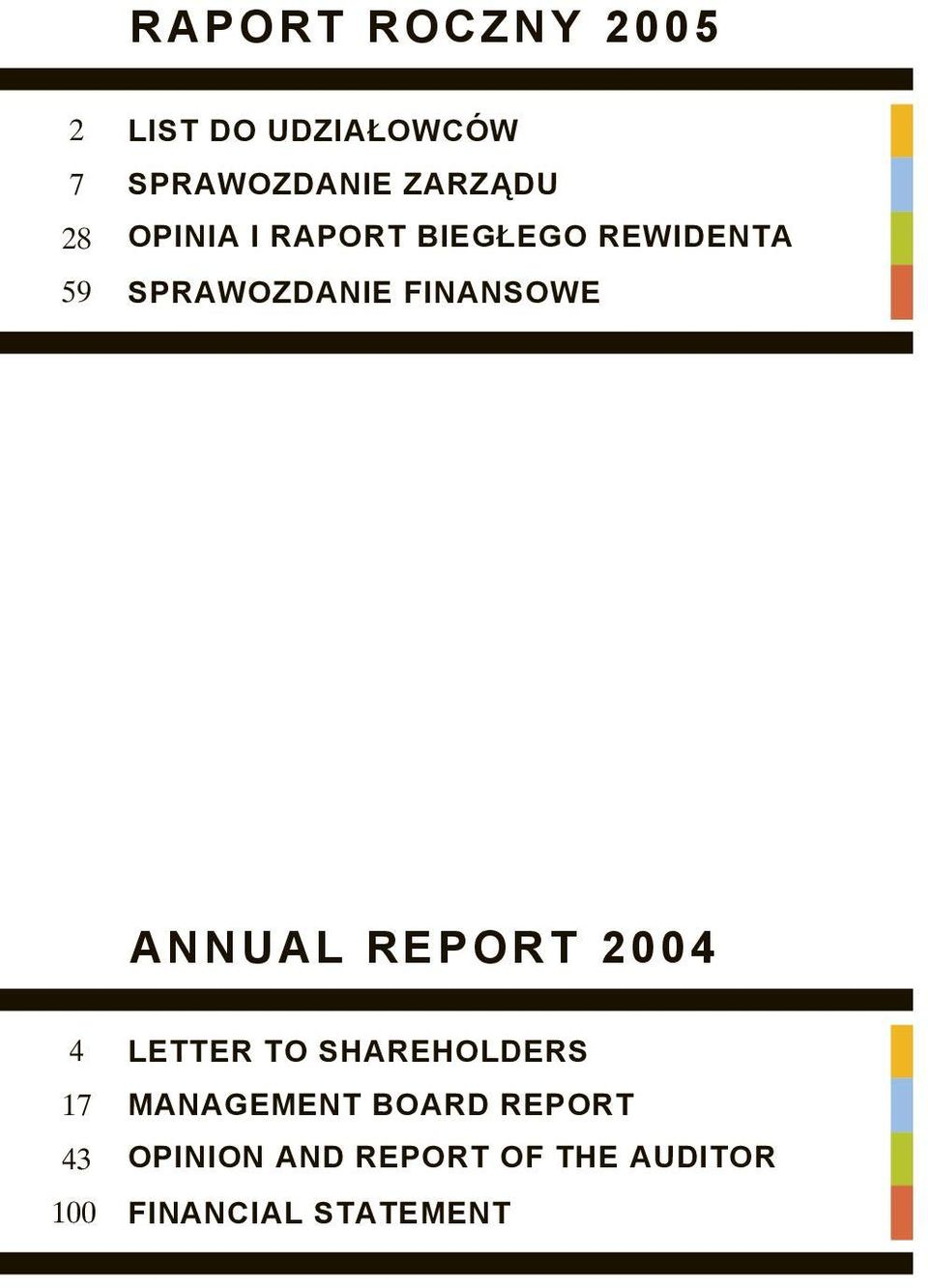 ANNUAL REPORT 2004 LETTER TO SHAREHOLDERS MANAGEMENT BOARD