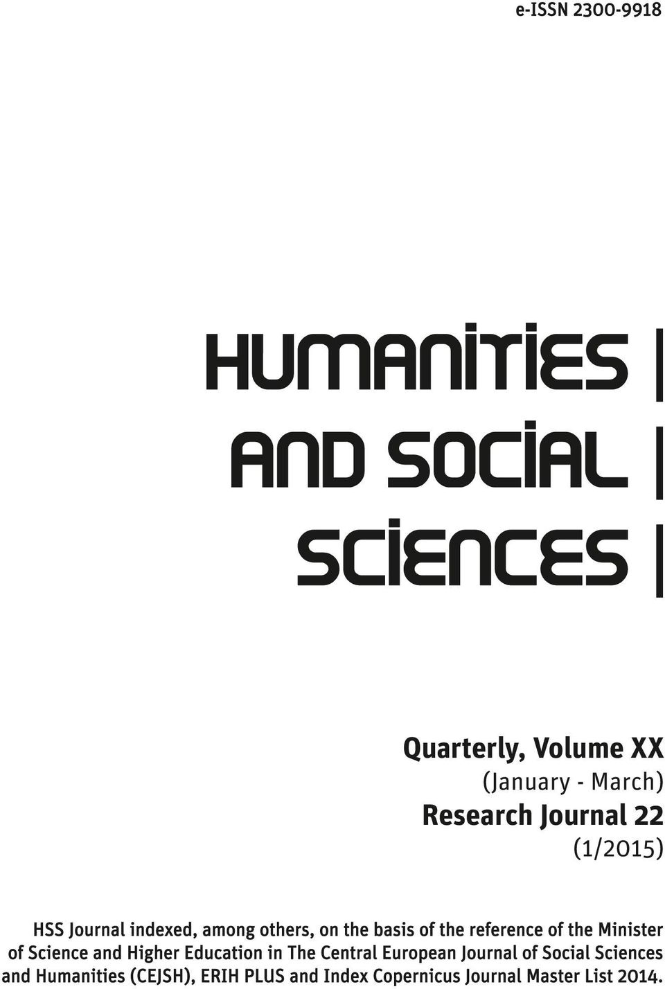 of Science and Higher Education in The Central European Journal of Social