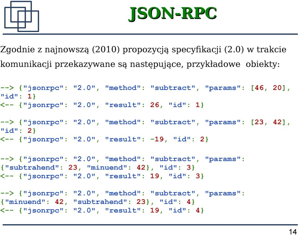 "0"", ""method"": ""subtract"", ""params"": [23, 42], ""id"": 2 <-- {""jsonrpc"": ""2.0"", ""result"": -19, ""id"": 2 --> {""jsonrpc"": ""2."