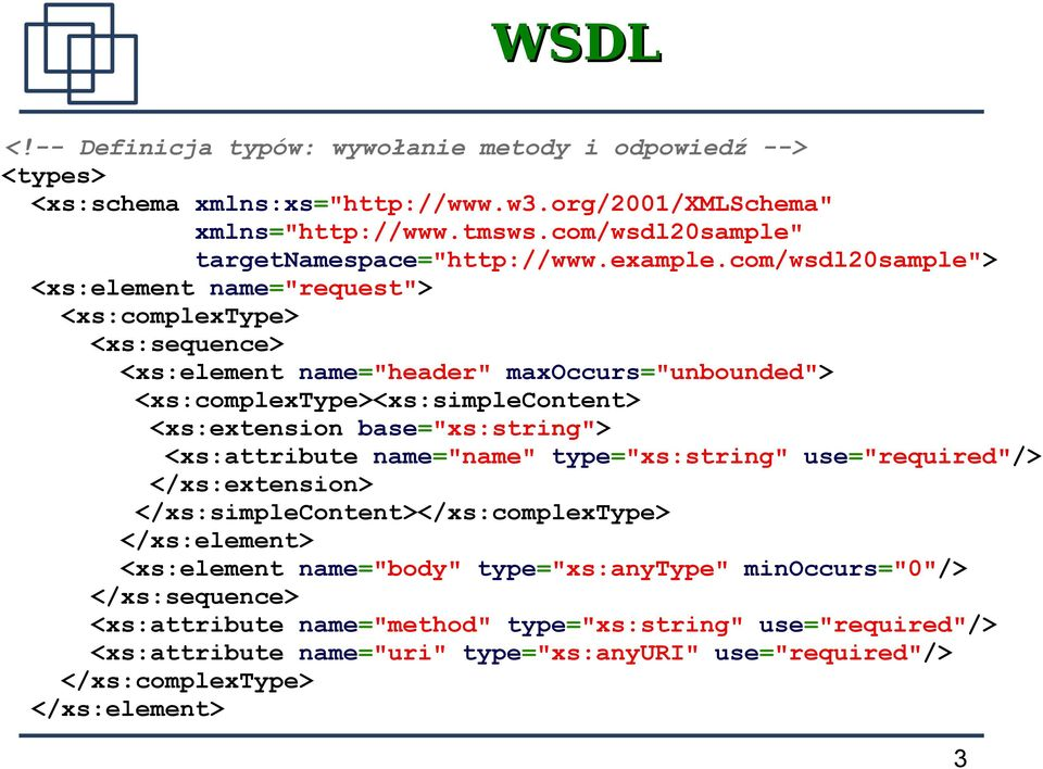 "com/wsdl20sample""> <xs:element name=""request""> <xs:complextype> <xs:sequence> <xs:element name=""header"" maxoccurs=""unbounded""> <xs:complextype><xs:simplecontent> <xs:extension"