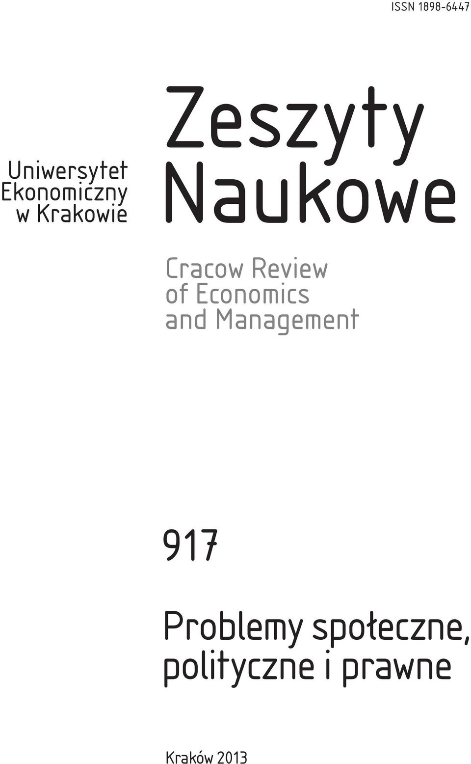 of Economics and Management 917 Problemy