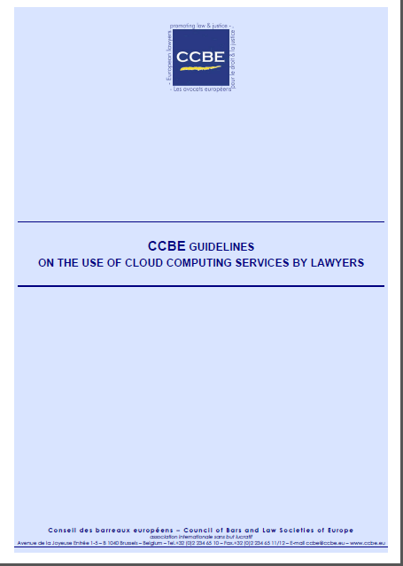 Strategia UE w zakresie chmur CCBE Guidelines on the Use of Cloud Computing