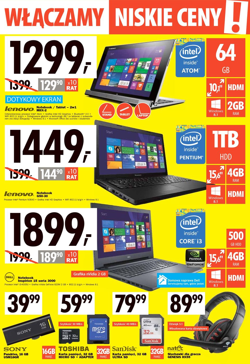 "90 15,6"" 4GB Notebook G50-30 1899, 1999, 189 90 Procesor Intel Pentium N3540 Grafika Intel HD Graphics WiFi 802."