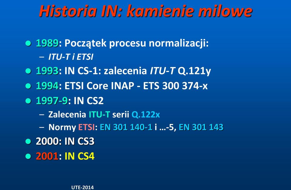 121y 1994: ETSI Core INAP - ETS 300 374-x 1997-9: IN CS2 Zalecenia