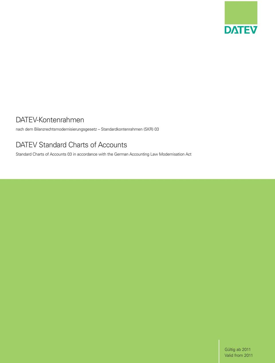 Accounts Standard Charts of Accounts 03 in accordance with the