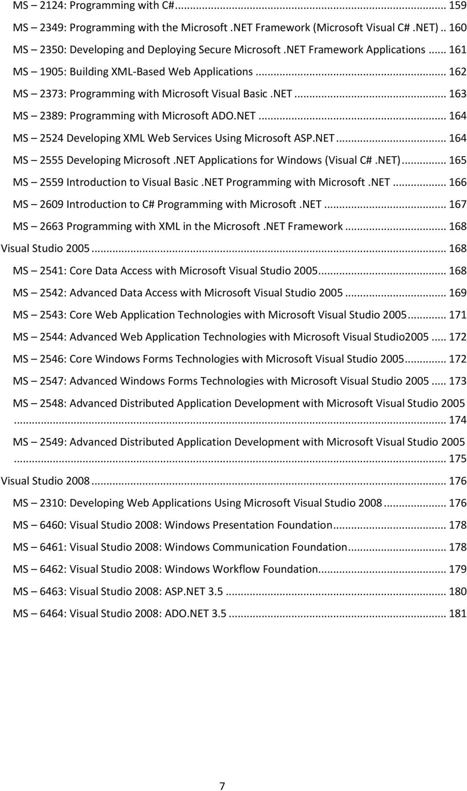 NET... 164 MS 2555 Developing Microsoft.NET Applications for Windows (Visual C#.NET)... 165 MS 2559 Introduction to Visual Basic.NET Programming with Microsoft.NET... 166 MS 2609 Introduction to C# Programming with Microsoft.