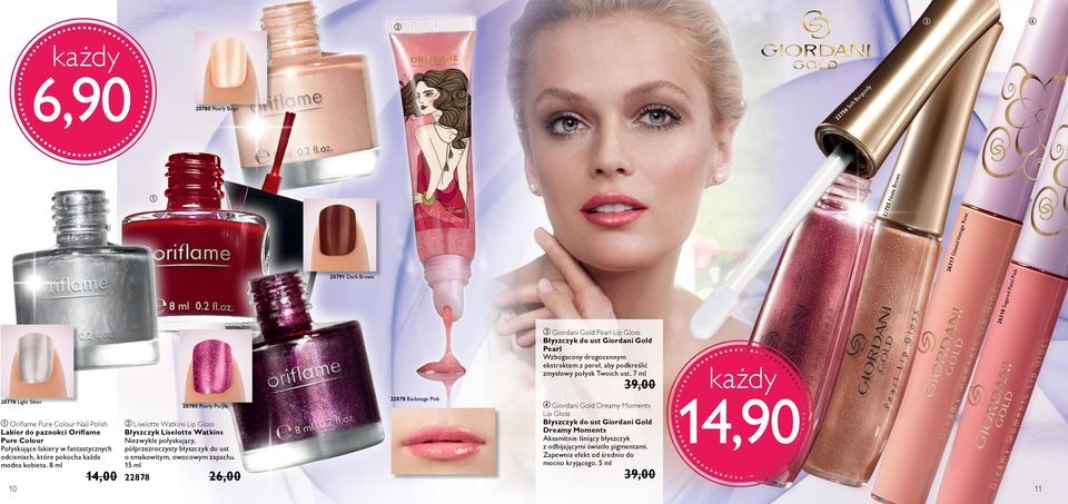 7 ml 20778 Light Silver 20785 Pearly Purple a Oriflame Pure Colour Nail Polish Lakier do paznokci Oriflame Pure Colour Połyskujące lakiery w fantastycznych odcieniach, które pokocha każda modna