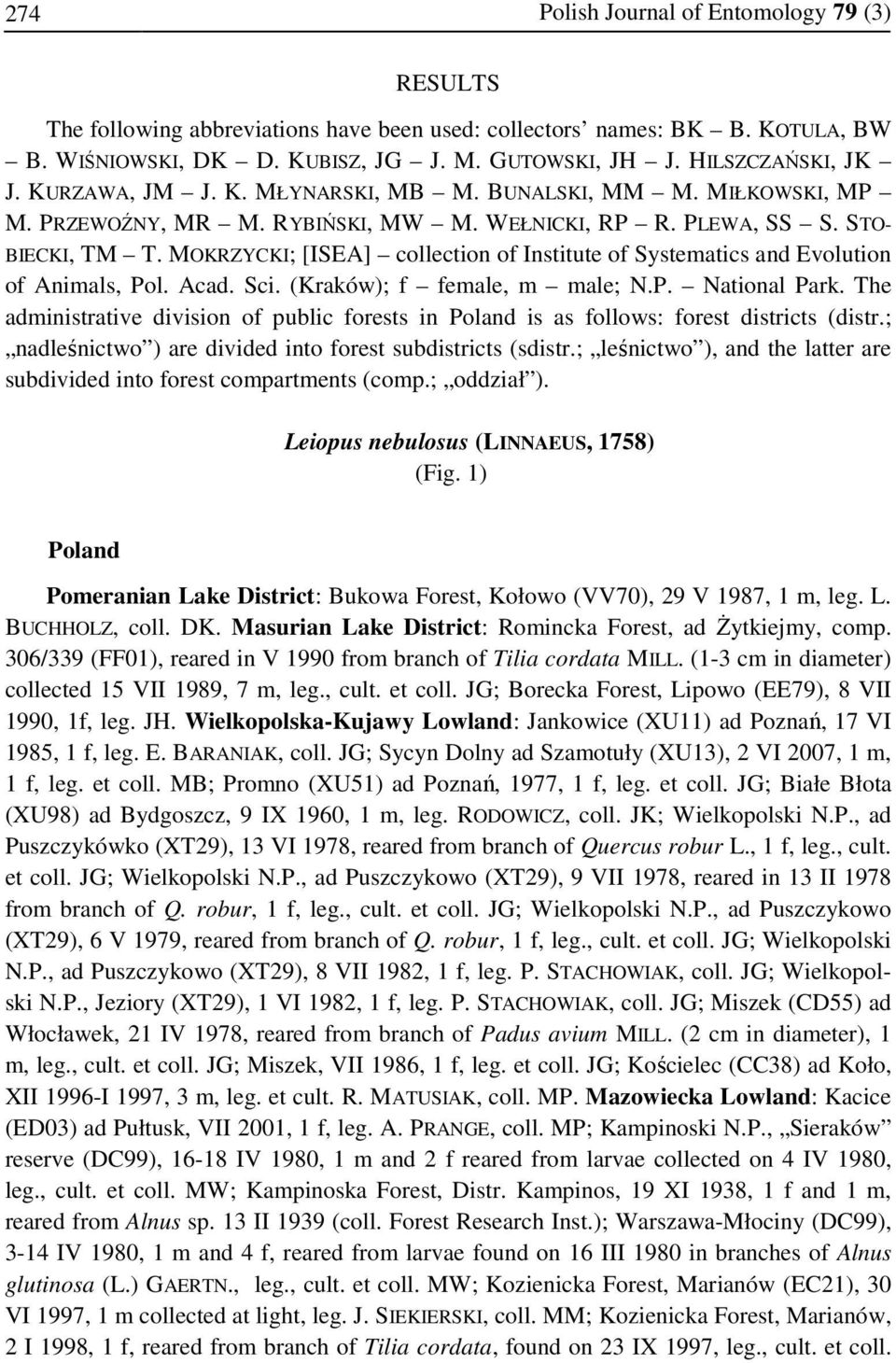 MOKRZYCKI; [ISEA] collection of Institute of Systematics and Evolution of Animals, Pol. Acad. Sci. (Kraków); f female, m male; N.P. National Park.