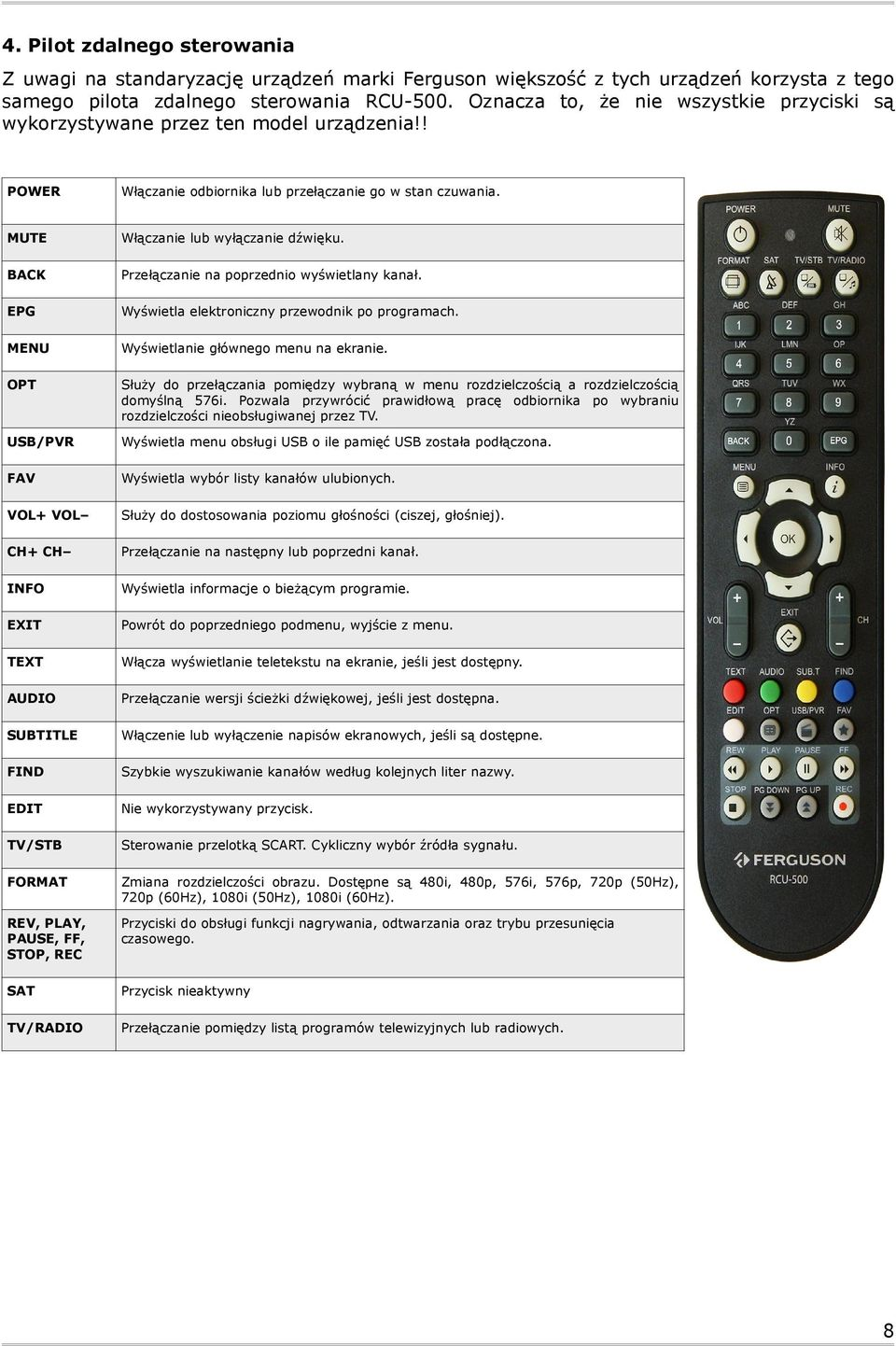 MUTE BACK EPG MENU OPT USB/PVR FAV VOL+ VOL CH+ CH INFO EXIT TEXT AUDIO SUBTITLE FIND EDIT TV/STB FORMAT REV, PLAY, PAUSE, FF, STOP, REC SAT TV/RADIO Włączanie lub wyłączanie dźwięku.