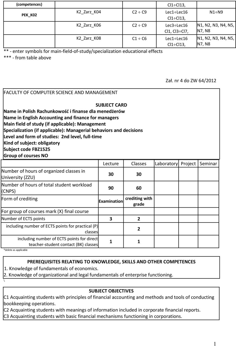 nr 4 do ZW 64/0 FACULTY OF COMPUTER SCIENCE AND MANAGEMENT SUBJECT CARD Name in Polish Rachunkowość i finanse dla menedżerów Name in English Accounting and finance for managers Main field of study