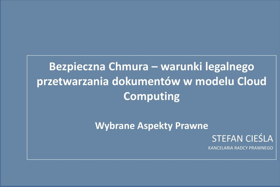 Cloud Computing Wybrane Aspekty