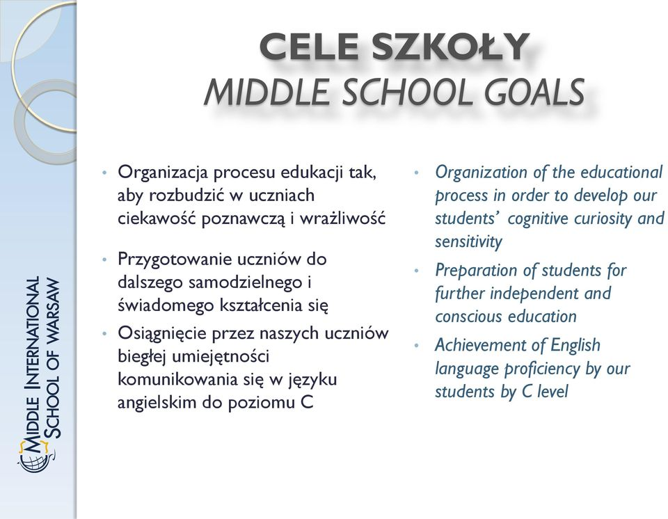 języku angielskim do poziomu C Organization of the educational process in order to develop our students cognitive curiosity and sensitivity