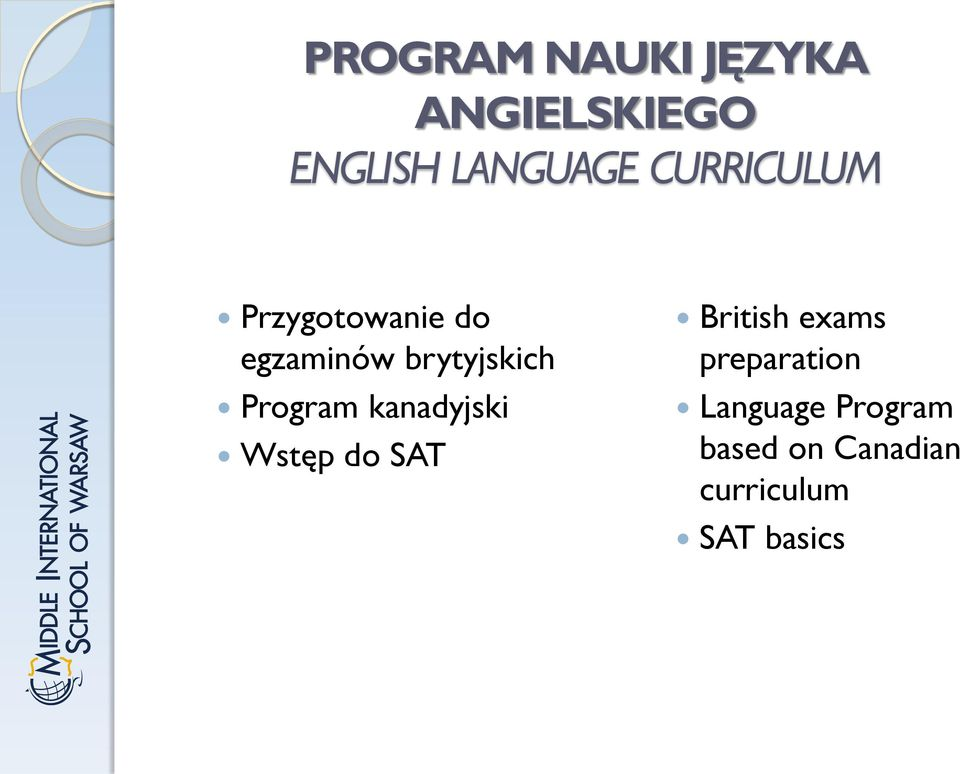 Program kanadyjski Wstęp do SAT British exams