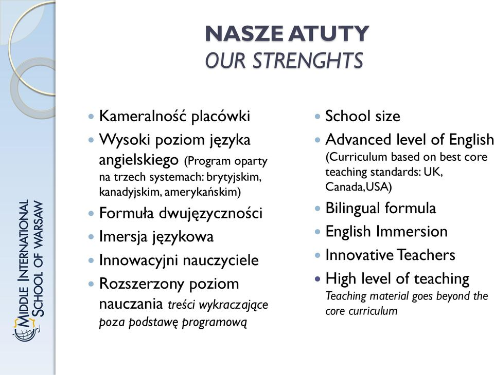 wykraczające poza podstawę programową School size Advanced level of English (Curriculum based on best core teaching standards: UK,