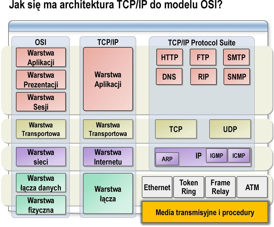 Suite HTTP FTP SMTP DNS RIP SNMP Warstwa Transportowa Warstwa Transportowa TCP UDP Warstwa sieci