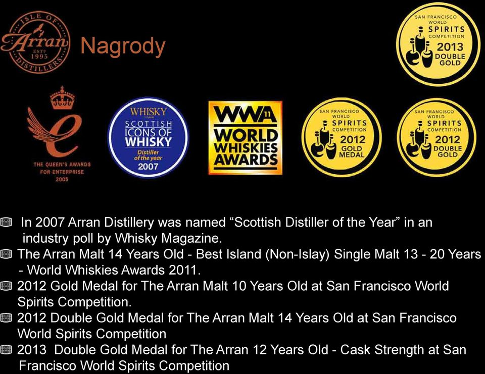 2012 Gold Medal for The Arran Malt 10 Years Old at San Francisco World Spirits Competition.