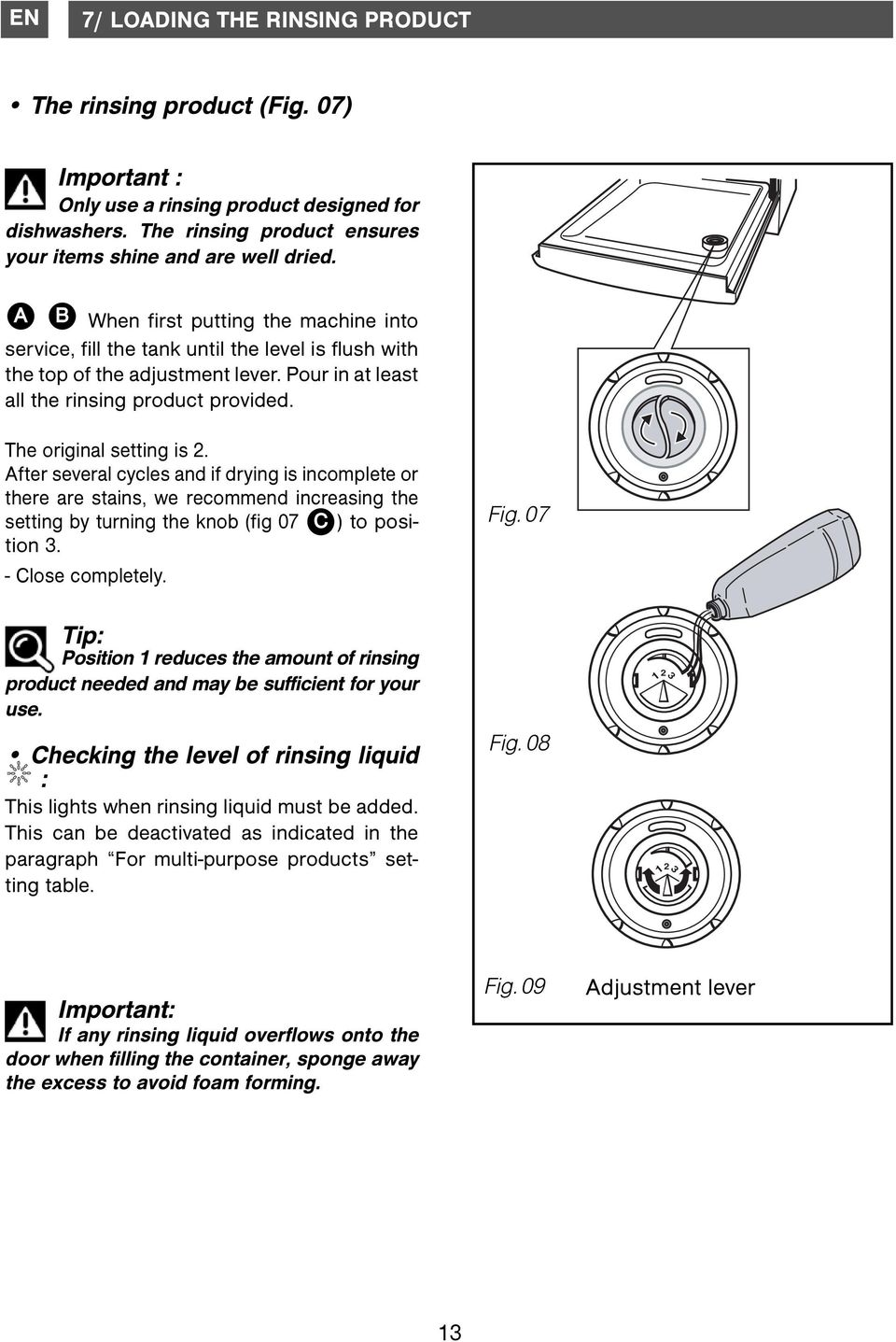 The original setting is 2. After several cycles and if drying is incomplete or there are stains, we recommend increasing the setting by turning the knob (fig 07 C ) to position 3. - Close completely.