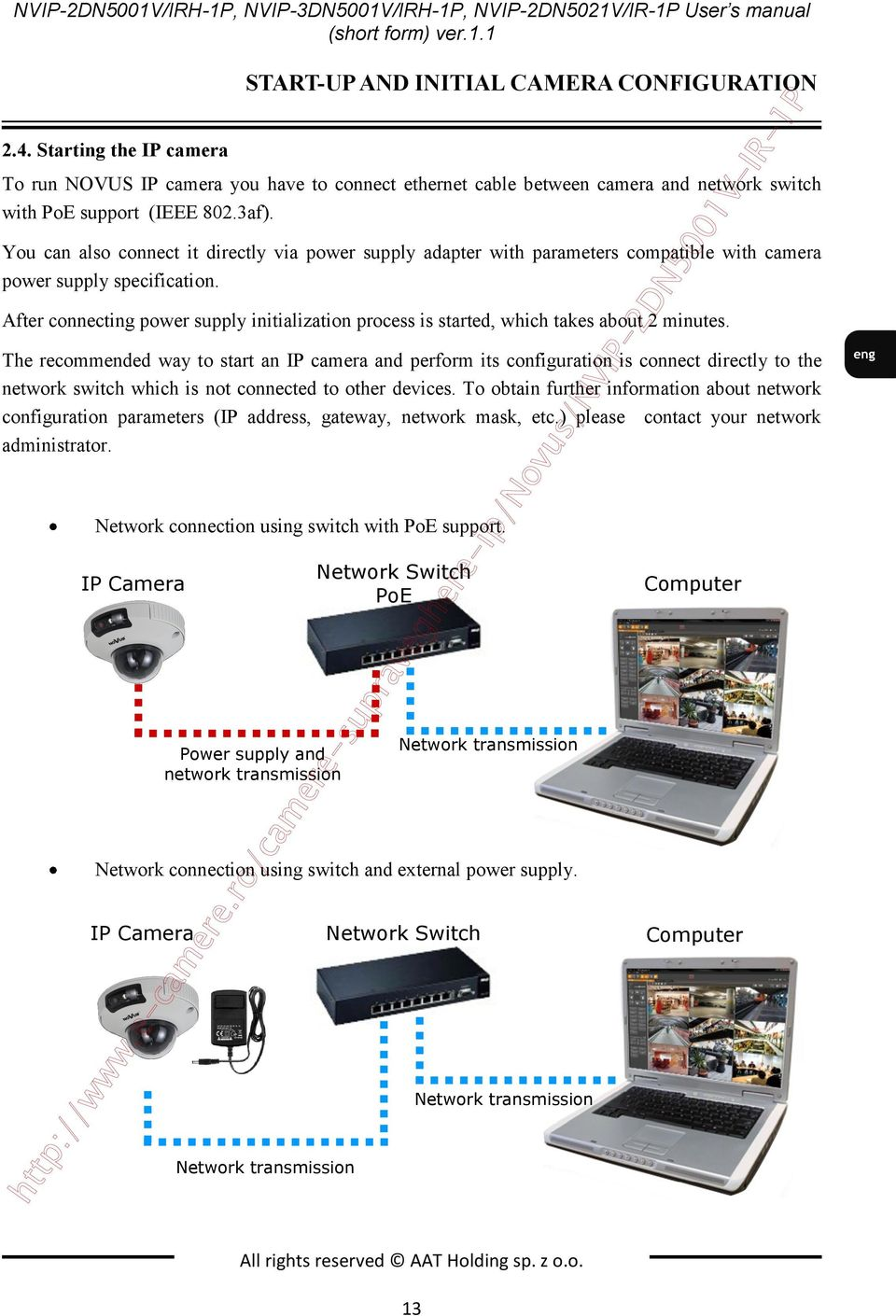 You can also connect it directly via power supply adapter with parameters compatible with camera power supply specification.
