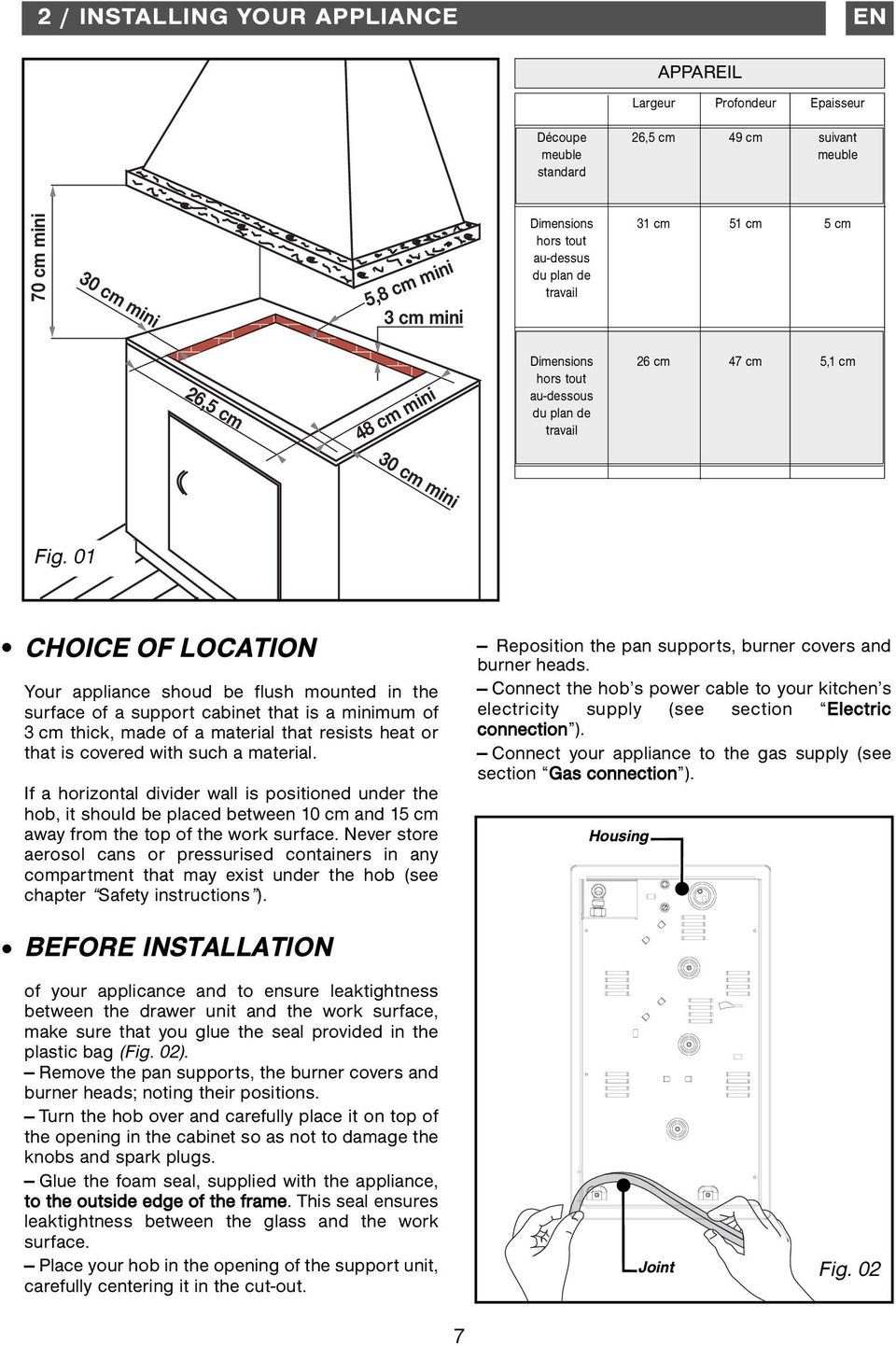 01 CHOICE OF LOCATION Your appliance shoud be flush mounted in the surface of a support cabinet that is a minimum of 3 cm thick, made of a material that resists heat or that is covered with such a