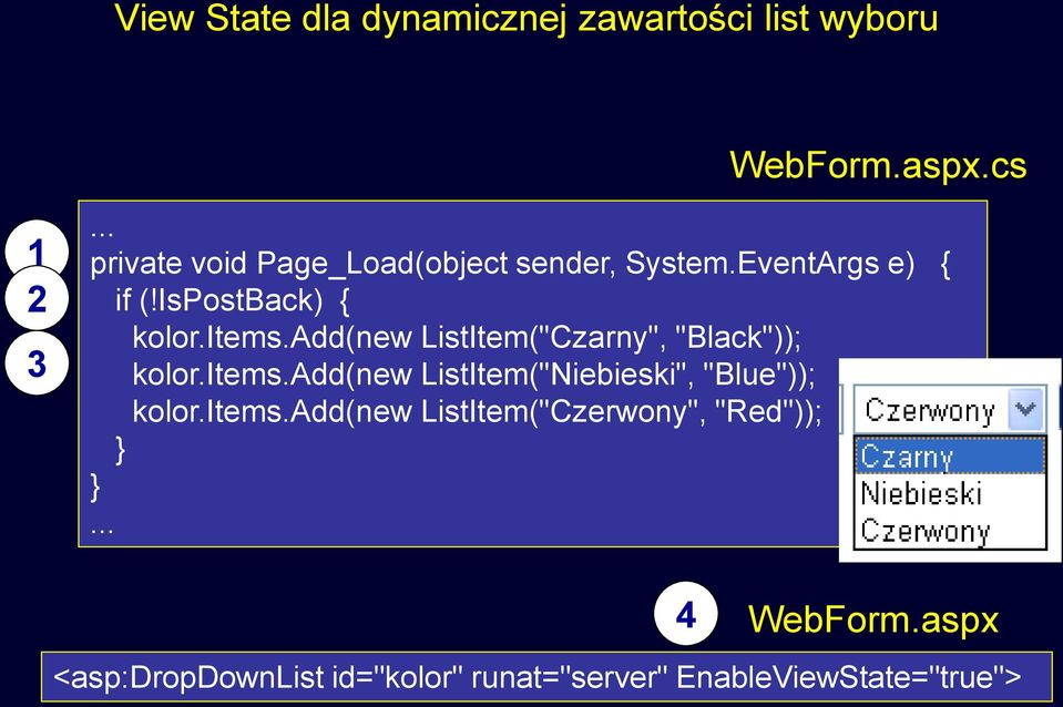 "add(new ListItem(""Czarny"", ""Black"")); kolor.items.add(new ListItem(""Niebieski"", ""Blue"")); kolor."