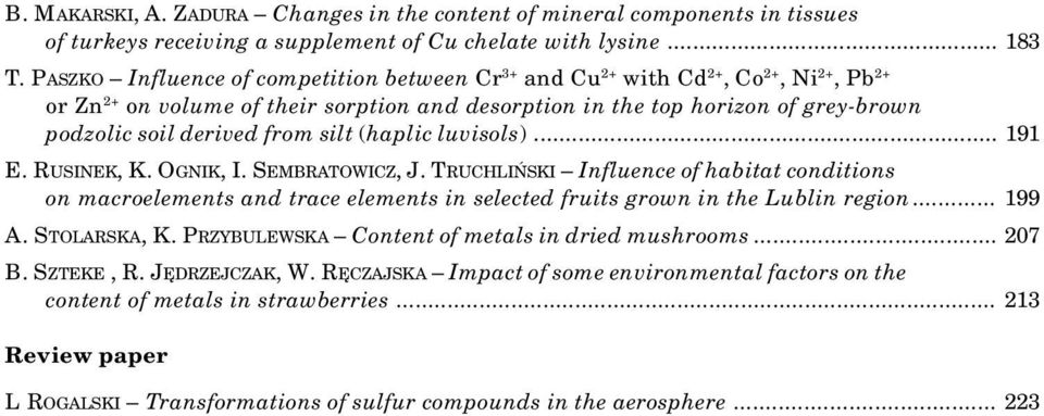 silt (haplic luvisols)... 191 E. RUSINEK, K. OGNIK, I. SEMBRATOWICZ, J. TRUCHLIÑSKI Influence of habitat conditions on macroelements and trace elements in selected fruits grown in the Lublin region.