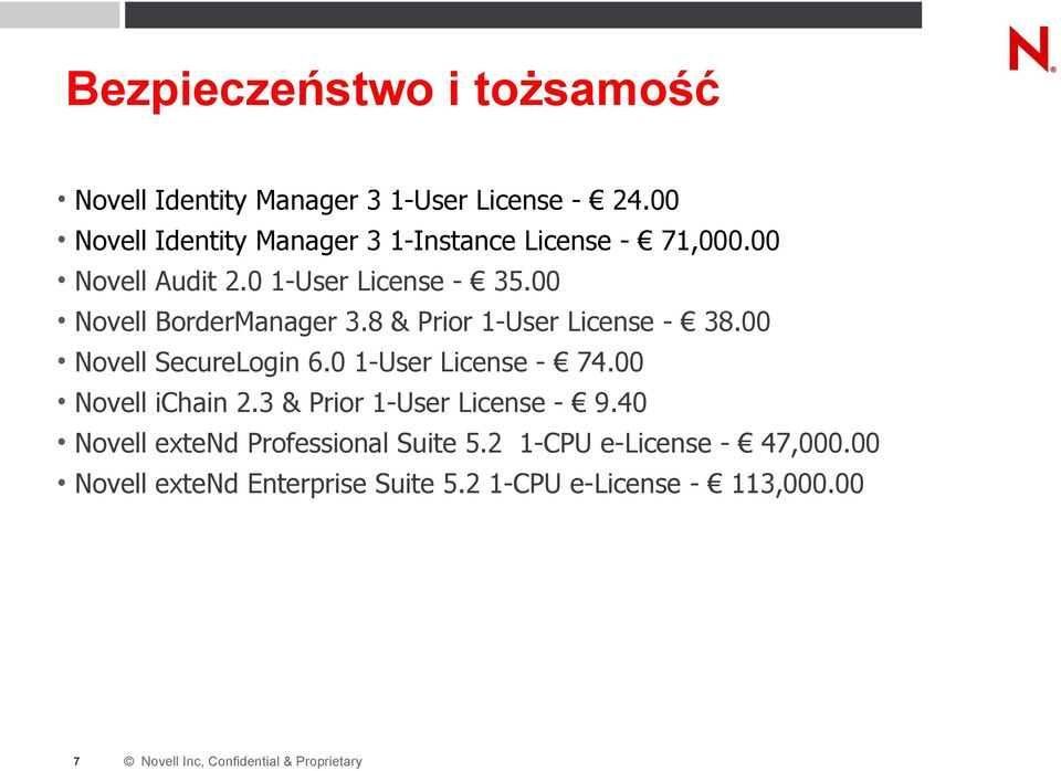 8 & Prior 1-User License - 38.00 Novell SecureLogin 6.0 1-User License - 74.00 Novell ichain 2.