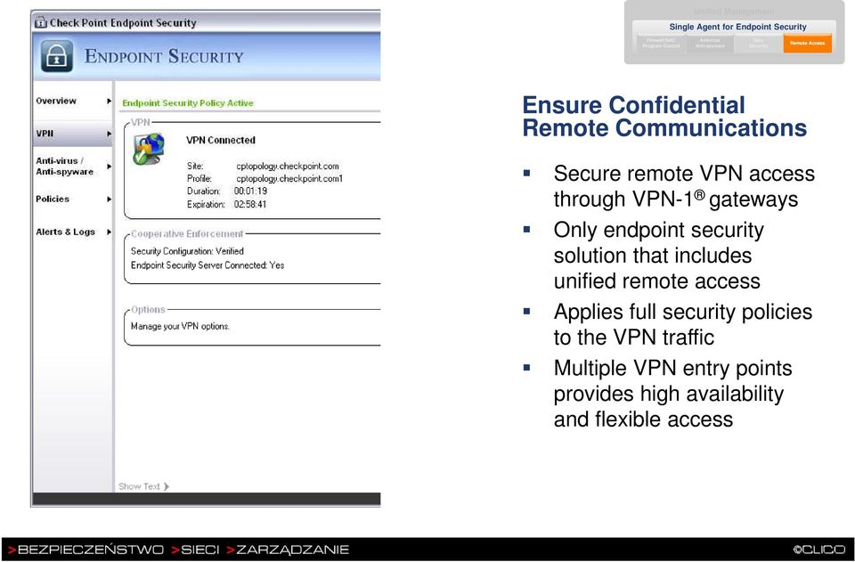security solution that includes unified remote access Applies full security