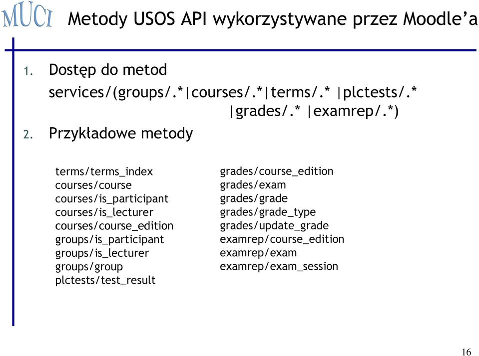Przykładowe metody terms/terms_index courses/course courses/is_participant courses/is_lecturer courses/course_edition