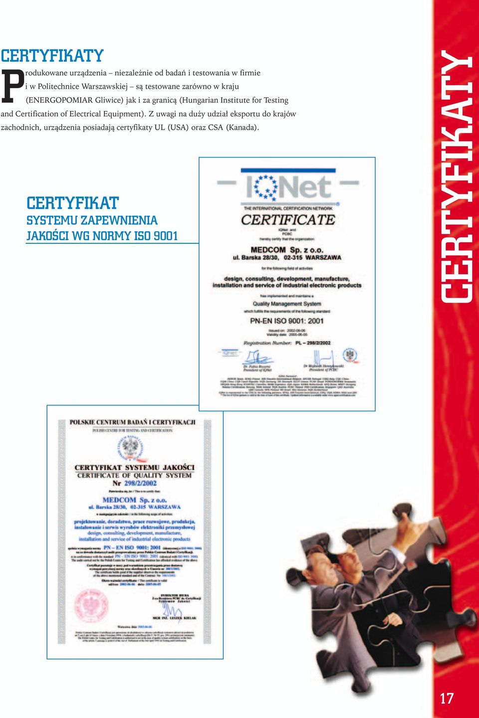 Certificatin f Electrical Equipment).