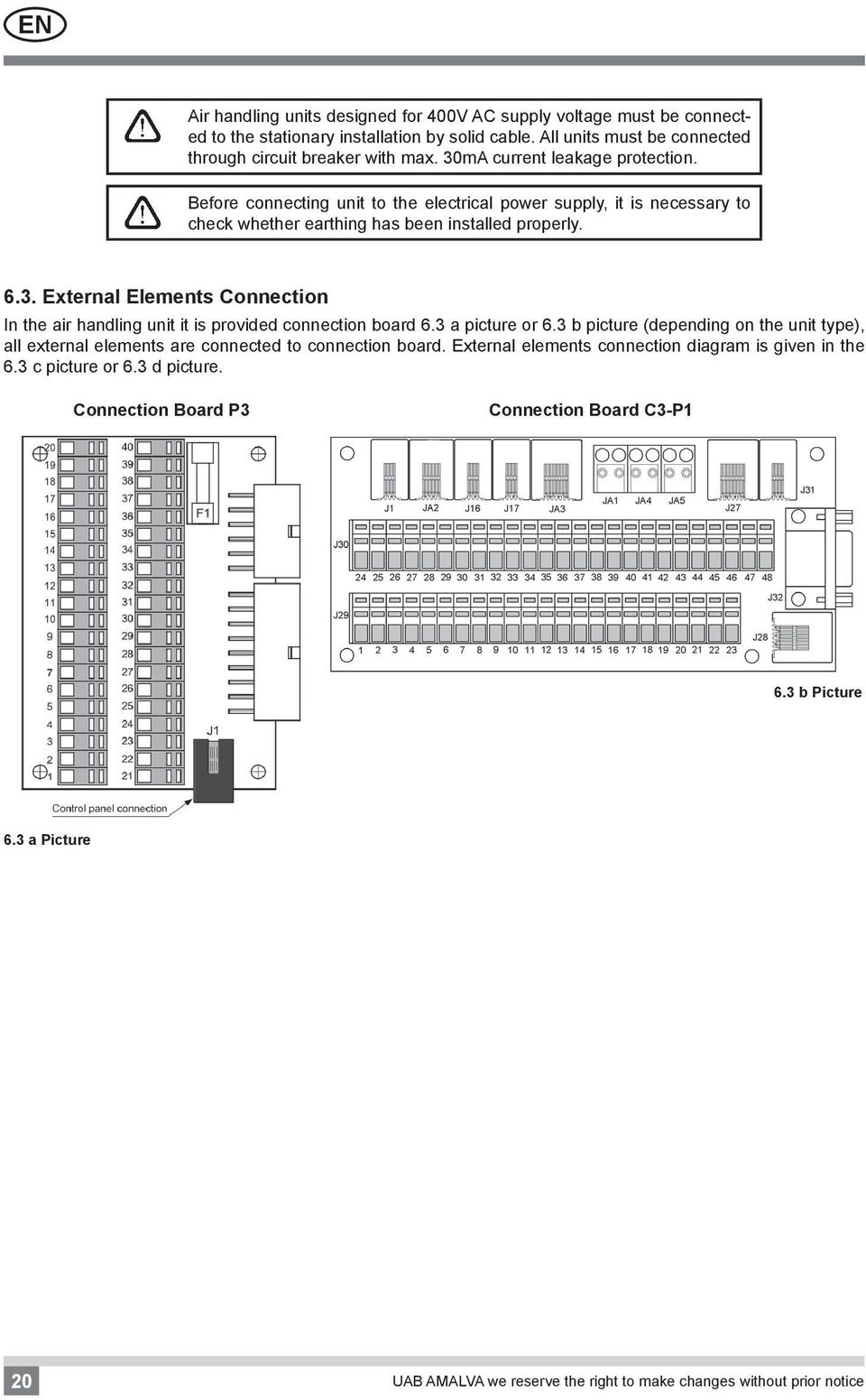 3 a picture or 6.3 b picture (depending on the unit type), all external elements are connected to connection board. External elements connection diagram is given in the 6.3 c picture or 6.