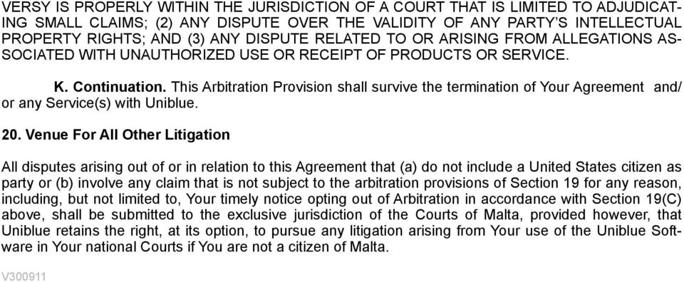 This Arbitration Provision shall survive the termination of Your Agreement and/ or any Service(s) with Uniblue. 20.