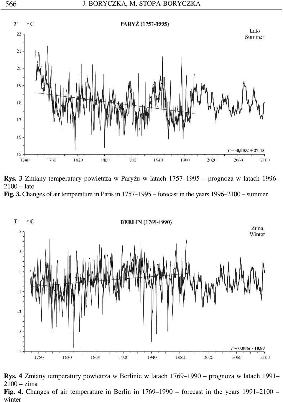 Changes of air temperature in Paris in 1757 1995 forecast in the years 1996 2100 summer Rys.