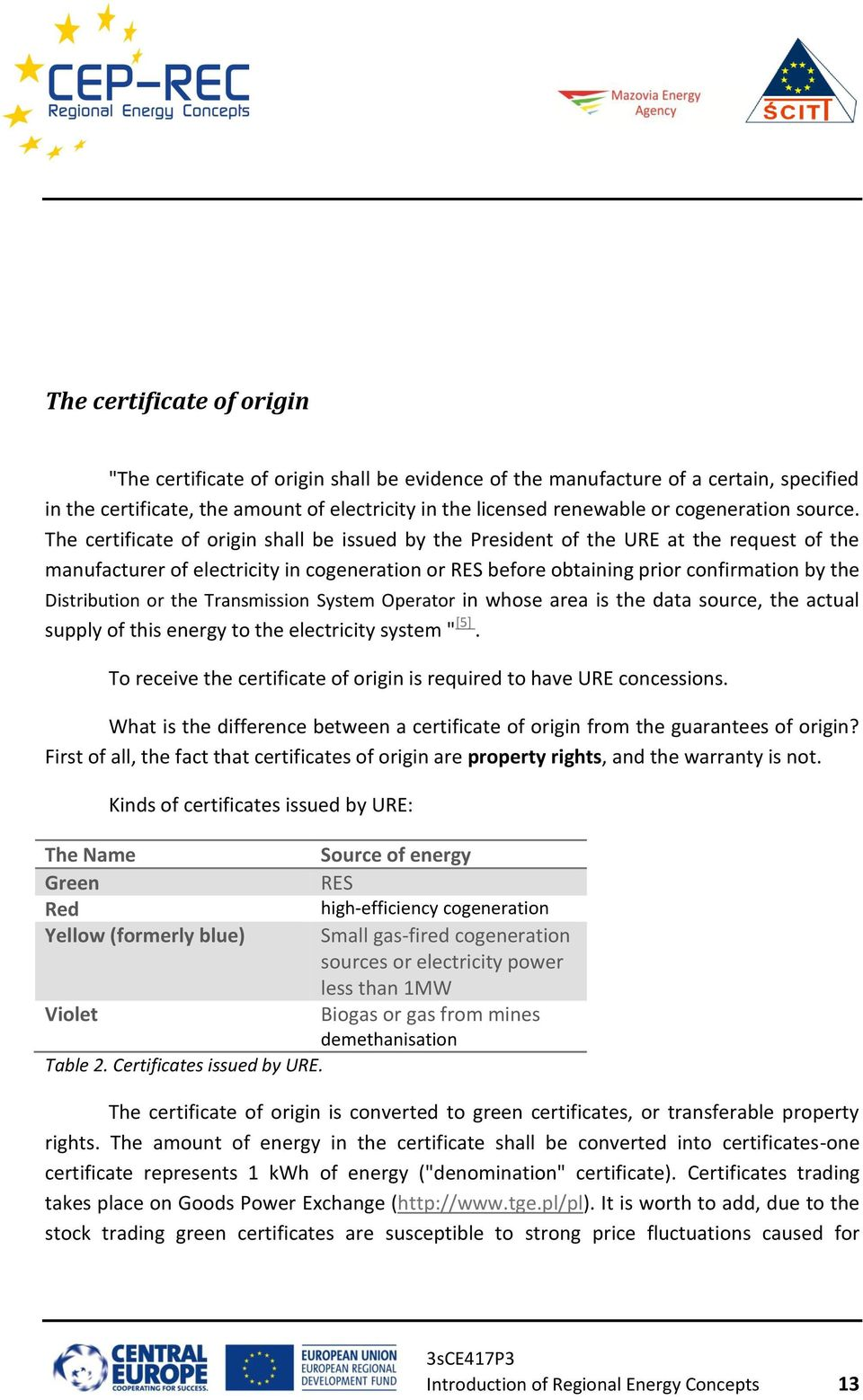 The certificate of origin shall be issued by the President of the URE at the request of the manufacturer of electricity in cogeneration or RES before obtaining prior confirmation by the Distribution