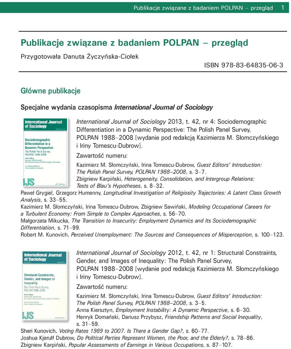 przegląd International Journal of Sociology 2013, t.