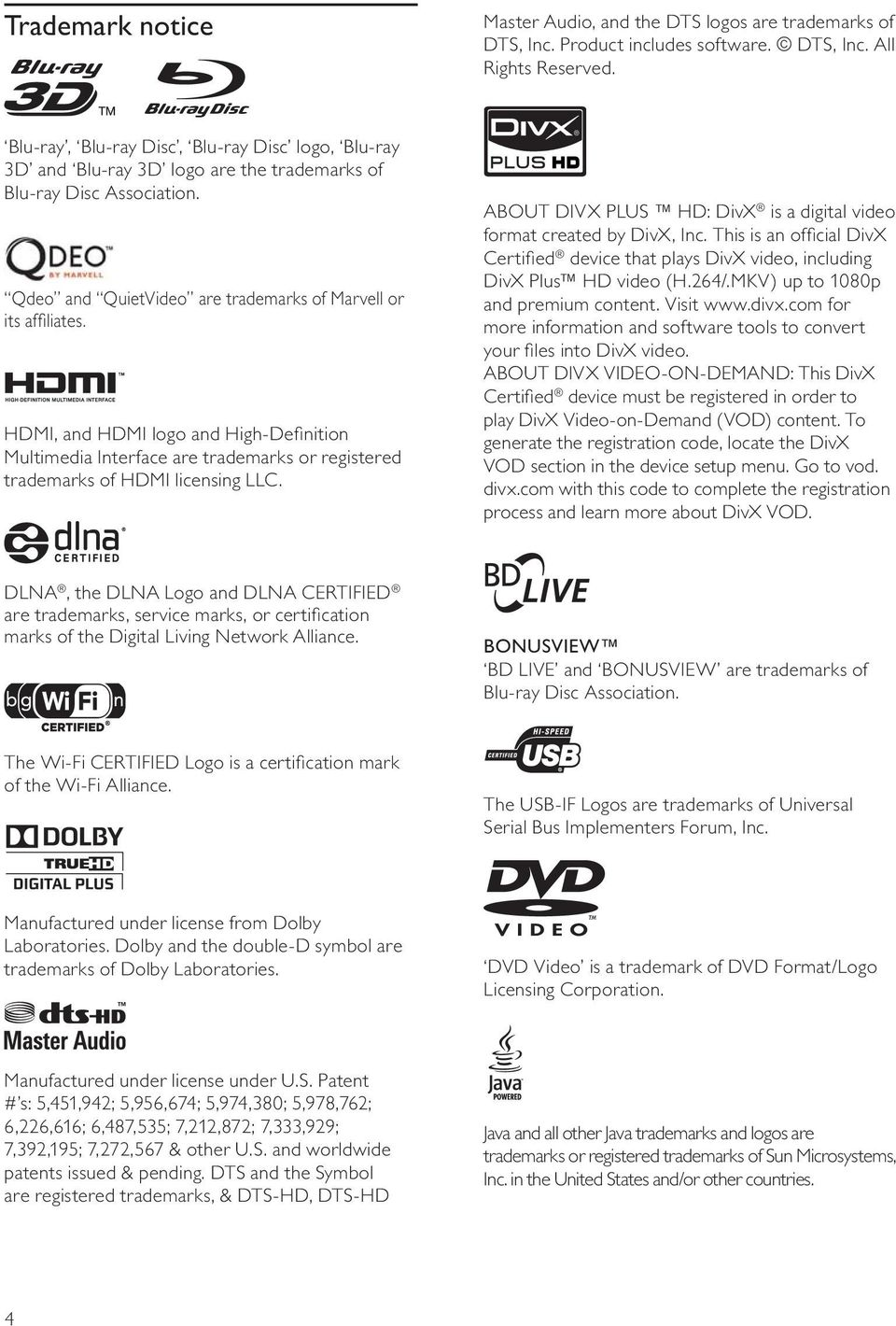 HDMI, and HDMI logo and High-Definition Multimedia Interface are trademarks or registered trademarks of HDMI licensing LLC. ABOUT DIVX US HD: DivX is a digital video format created by DivX, Inc.