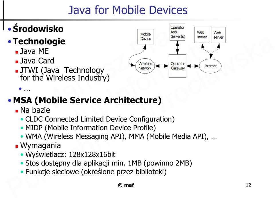Configuration) MIDP (Mobile Information Device Profile) WMA (Wireless Messaging API), MMA (Mobile Media API),