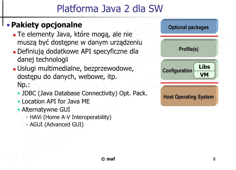 webowe, itp. Np.: JDBC (Java Database Connectivity) Opt. Pack.