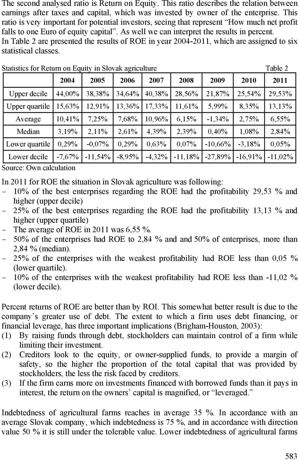 In Table 2 are presented the results of ROE in year 2004-2011, which are assigned to six statistical classes.