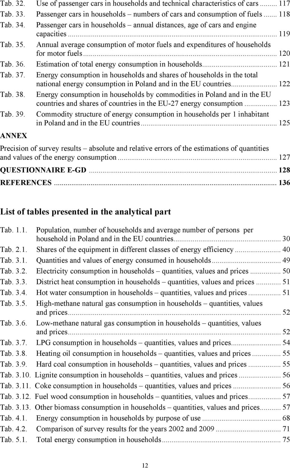 36. Estimation of total energy consumption in households... 121 Tab. 37.