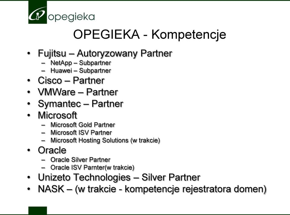 Partner Microsoft Hosting Solutions (w trakcie) Oracle Oracle Silver Partner Oracle ISV