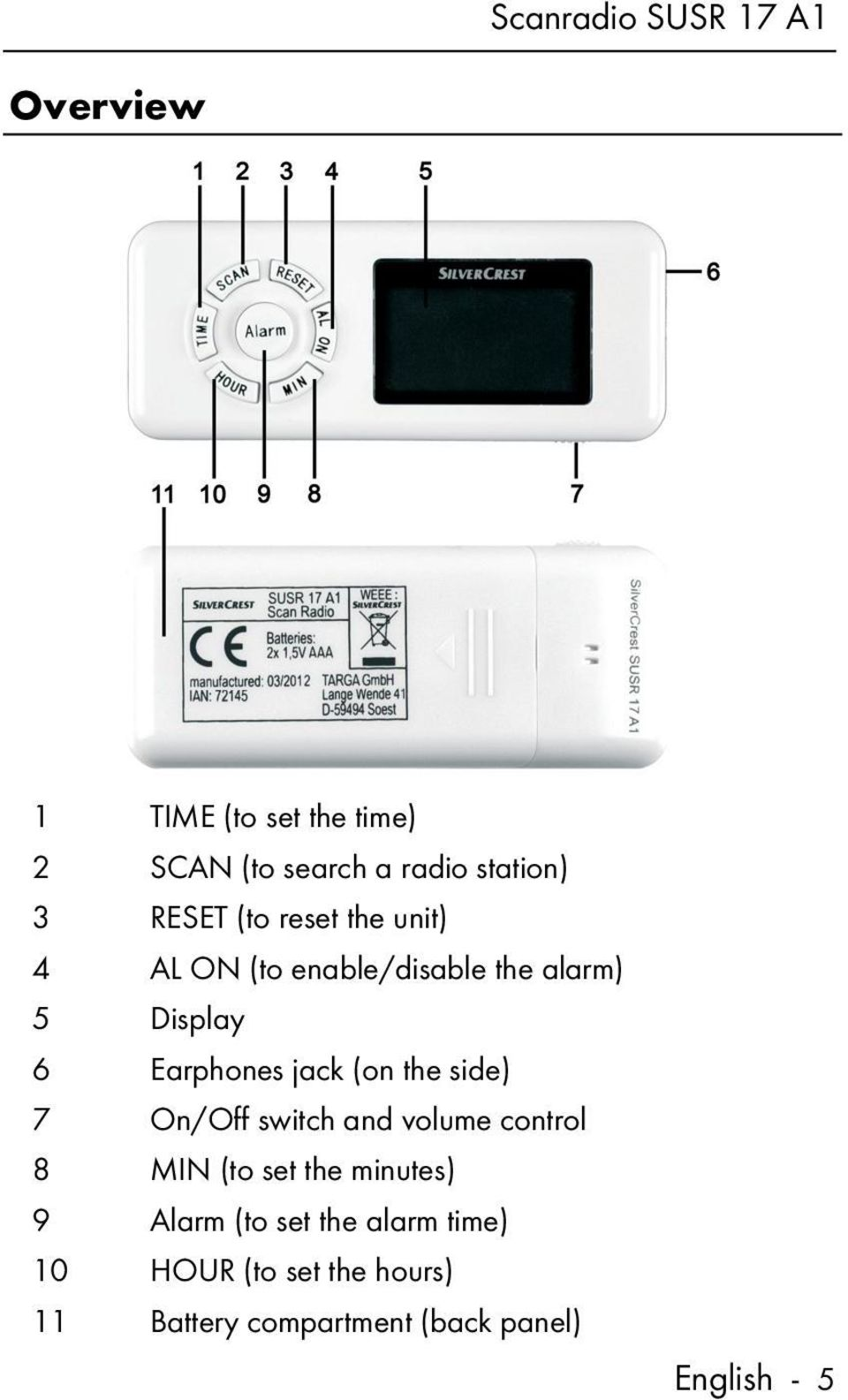the side) 7 On/Off switch and volume control 8 MIN (to set the minutes) 9 Alarm (to