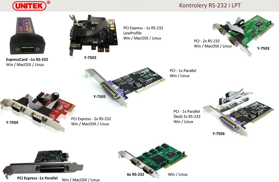 Parallel Win / Linux Y-7505 Y-7504 PCI Express - 2x RS-232 Win / MacOSX / Linux PCI - 1x