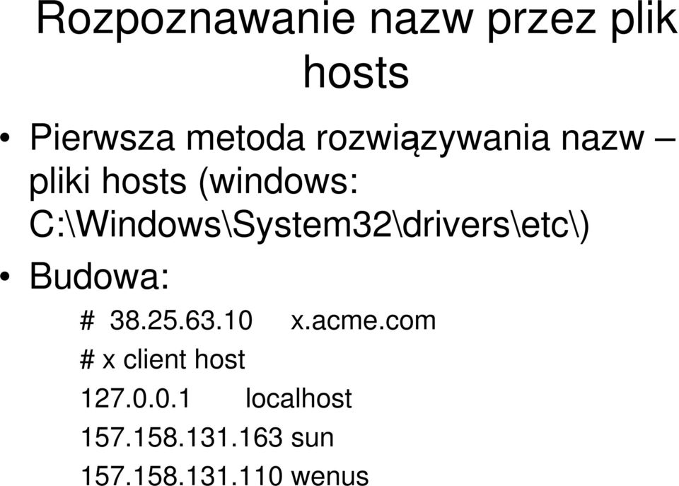 C:\Windows\System32\drivers\etc\) Budowa: # 38.25.63.10 x.